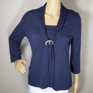 Christopher & banks Blue Crochet Tie Top Size M